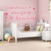 Personalised Goodnight Said the Moon Baby Girls ~ Wall sticker / decals